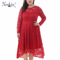 Nemidor Women Elegant Long Sleeve Cocktail Asymmetrical A line Dress Vintage O neck Sexy See Through Back Plus Size Lace Dress