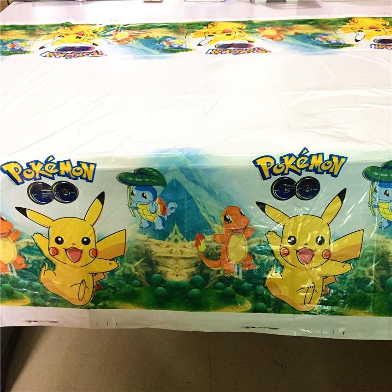 1Pcs 108x180cm Pokemon Go Cartoon Theme Party Supplies Baby Shower Children Birthday Pikachu Disposable Tablecloths Decoration