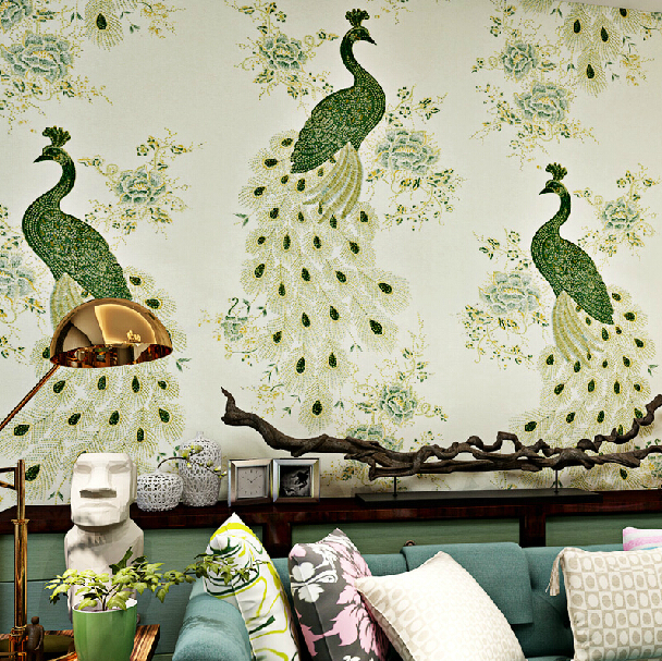 Online buy wholesale peacock wall paper from china peacock for Chinese mural wallpaper