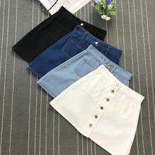 On sale 2019 summer Womens ladies A-line Jeans short Skirt Button High Waist Denim pockets Skirt harajuku mini high quality jean