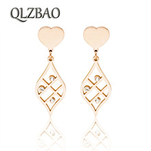 QLZBAO New Fashion Crystal Jewelry Women Heart And Leaves Earrings Wholesale 361L Stainless Steel Earrings For Women(China)