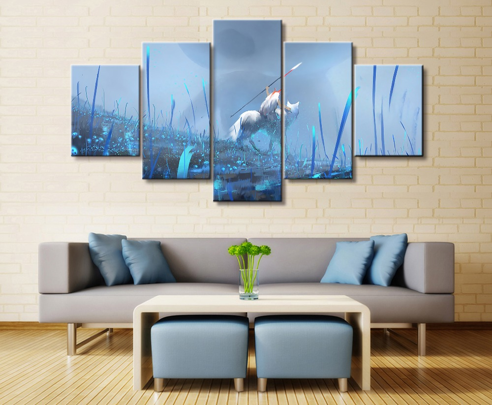 Ghost Blade Game 5 Piece HD Print Wall Art Canvas For Living Room Decor Painting Home Picture Artwork