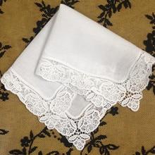 Набор из 12, модная женская обувь дамские платки белое хлопковое свадебное вышитый носовой платок кружевные платочки платок свадебные подарки 12 x12-inch