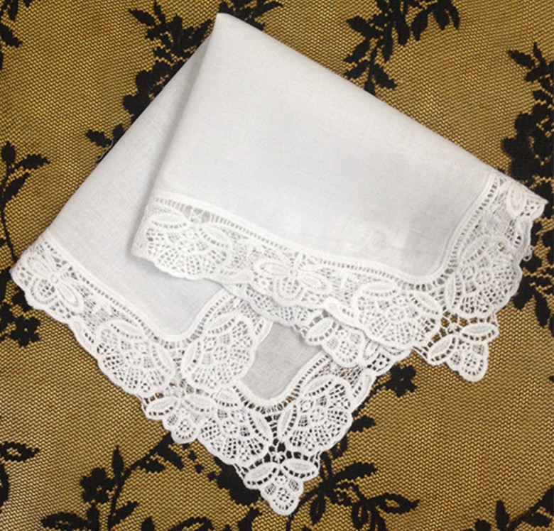 Set Of 12 Fashion Ladies Handkerchiefs White Cotton Wedding Handkerchief Embroidered Lace Hankies Hanky Bridal Gifts 12 X12-inch