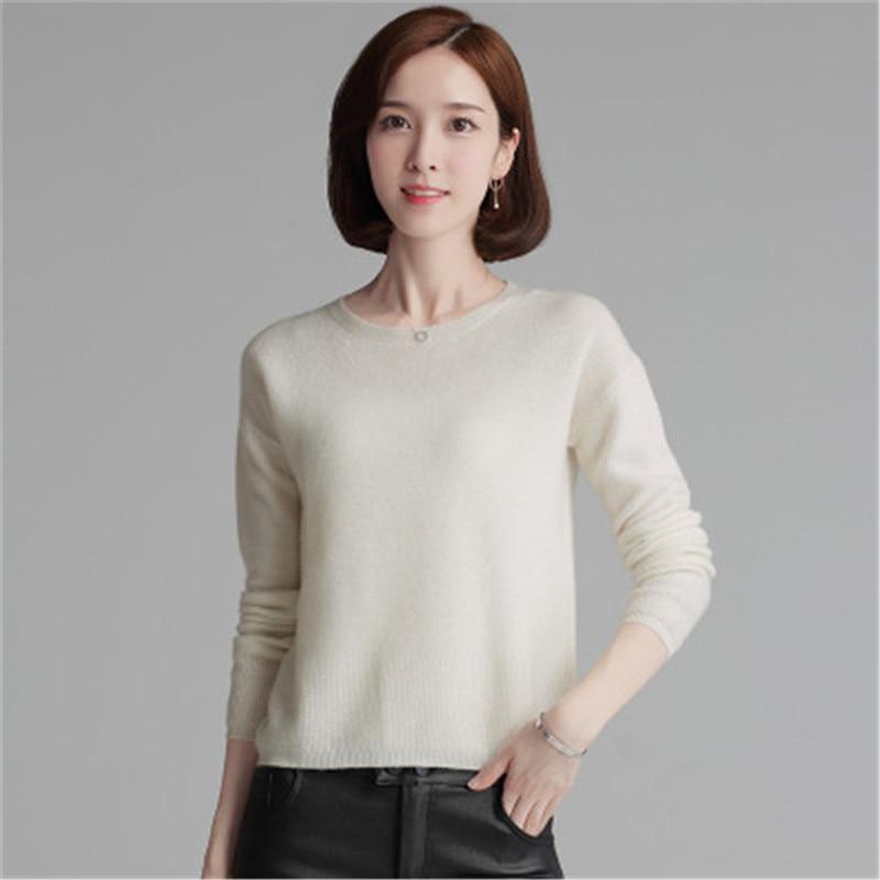 xl white Camel Lâche Style Tricot Blanc 100 De red orange Chèvre Pull Solide Chandail Cachemire Oneck Coréen Femmes M pink yellow 6 Couleur zzaT1q
