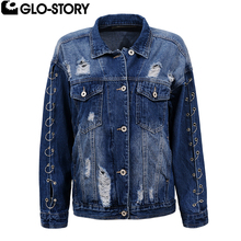 GLO-STORY Women Punk Fashion Autumn Jeans Jacket Women Loose Hole Ripped Denim Jackets Coat Feminino Open Sleeve Jacket Top 5118