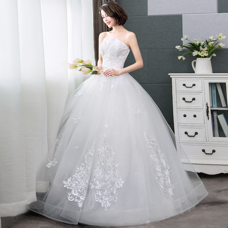 50cb2c7756a ... New 2018 Sexy Strapless Wedding Dress Princess Lace Simple Wedding  Dresses Summer Flowers Off White Wedding ...