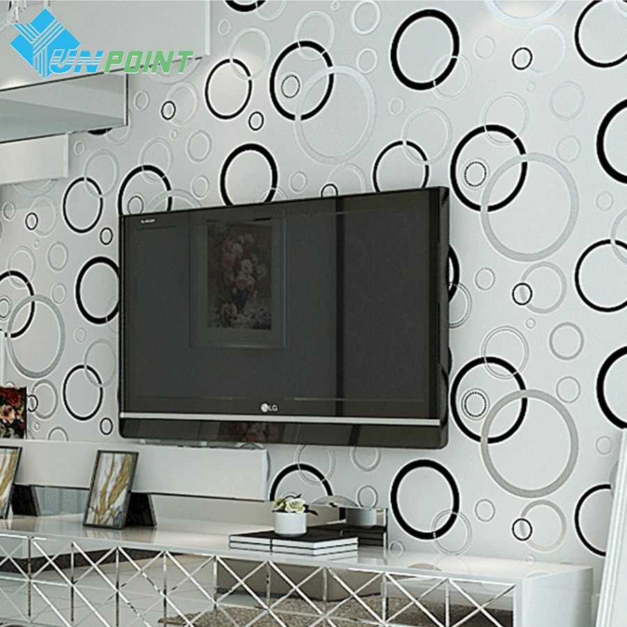 Modern Simple Black And White Circle Wallpaper Designs Non-woven Damask Living room Bedroom TV Decorative 3D Wallpapers Mural  цены