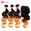 Malaysian Virgin Hair With Closure Ombre T1B/4/27 Malaysian Human Hair 3/4 Bundles With Closure Malaysian Body Wave With Closure