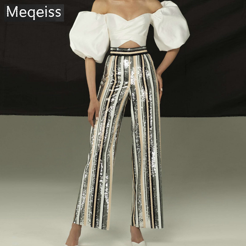Meqeiss sexy striped sequined trousers casual women's high waist   wide     leg     pants   trousers ladies party club   pants   Shipping