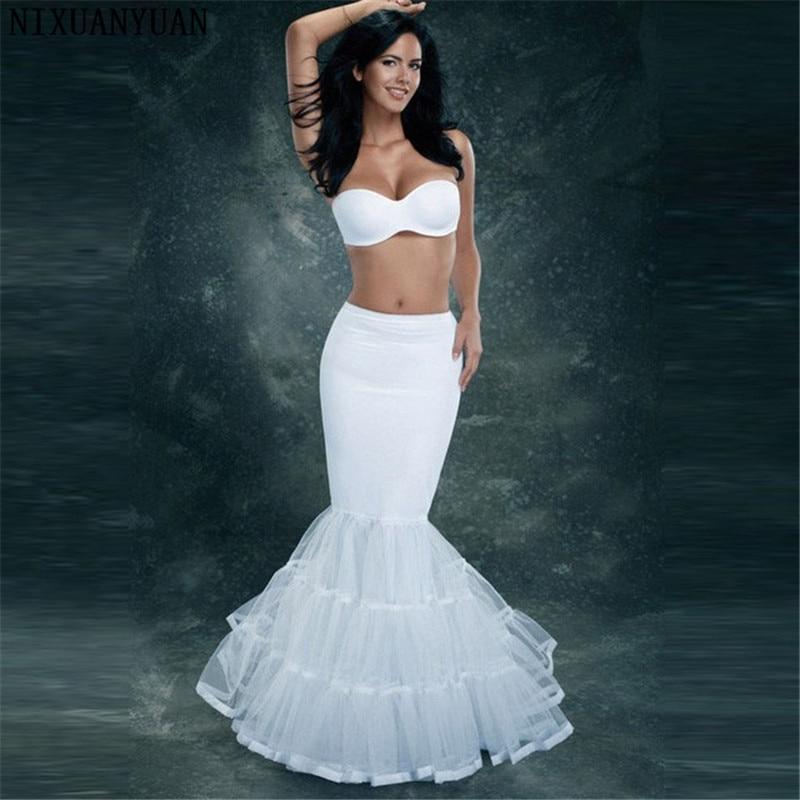 NIXUANYUAN Lycra Tulle White Mermaid Trumpet Style Wedding Gown Petticoat Crinoline Slip
