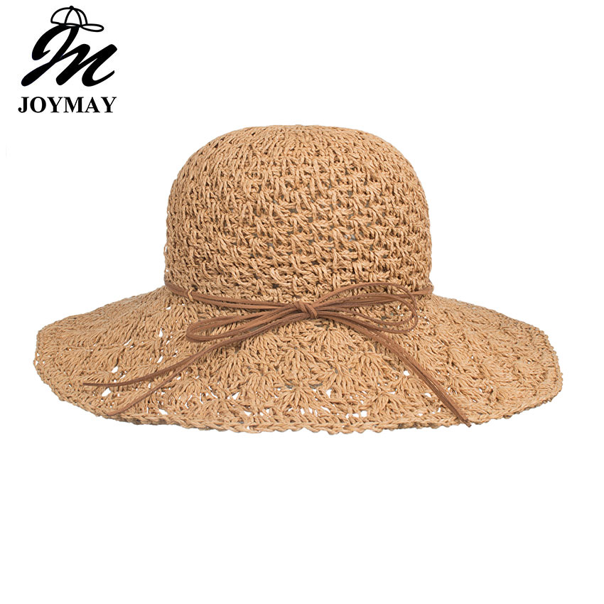 f70fb06c Joymay Womens UV Sun Protective Roll-Up Summer Visor with backside bowknot