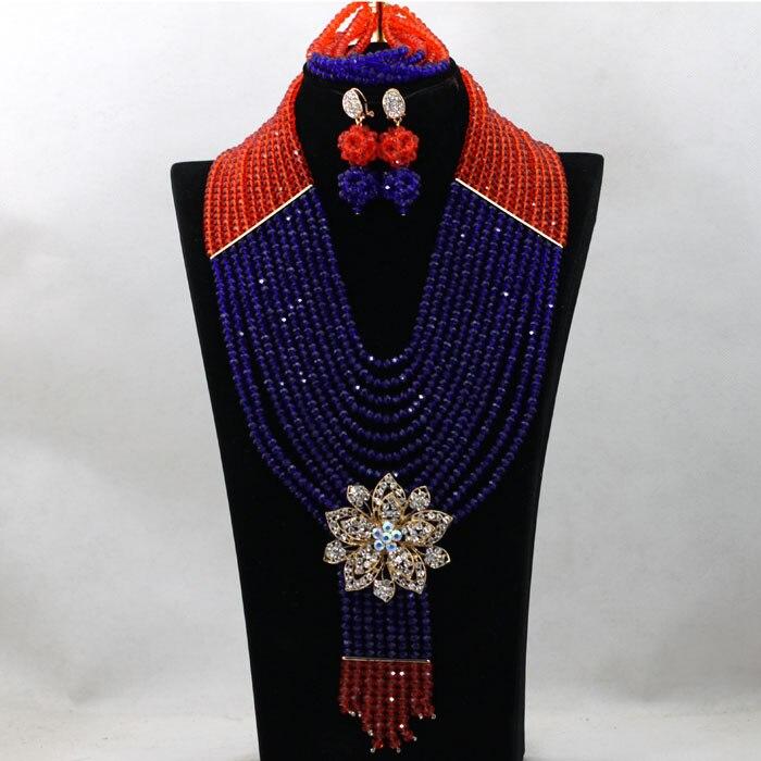 Elegant Royal Blue and Orange Traditional Wedding Nigerian Beads Jewelry Set African Costume Beads Necklace Free Shipping WA666Elegant Royal Blue and Orange Traditional Wedding Nigerian Beads Jewelry Set African Costume Beads Necklace Free Shipping WA666