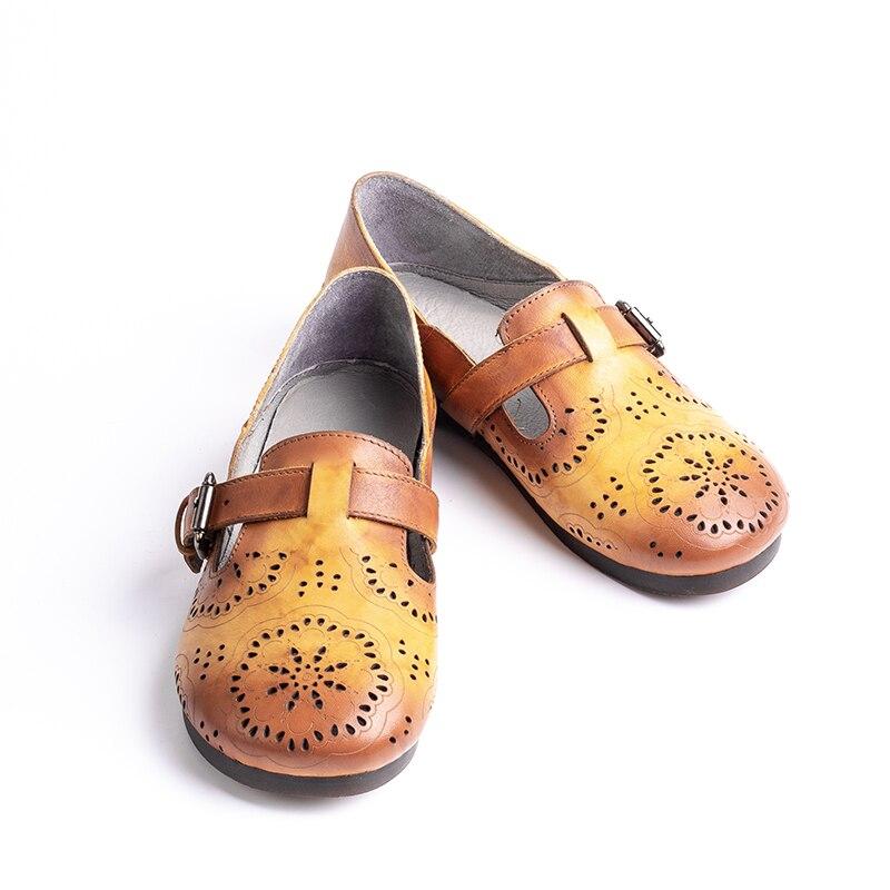 Cuero A Zapatos De naranja Calado Pisos Flor Femeninos Las Correa Genuino Planos Hecho Mano Hechos Dama Mujeres Hebilla Azul qw0xX15x