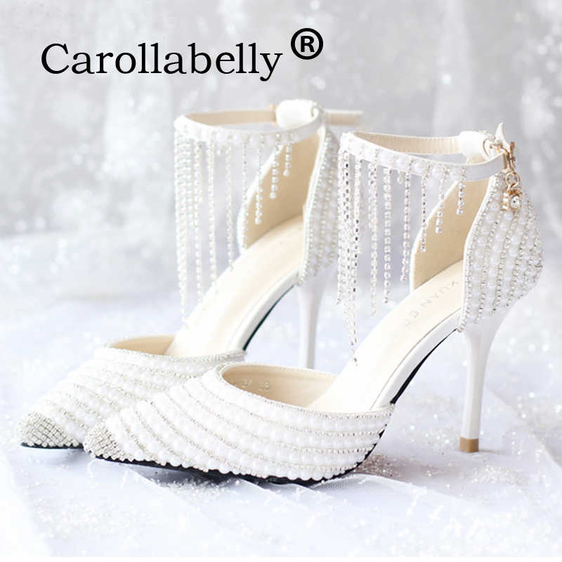 1482c36b9e59b Carollabelly Shoes Women Fashion White Wedding Pumps Sweet White ...