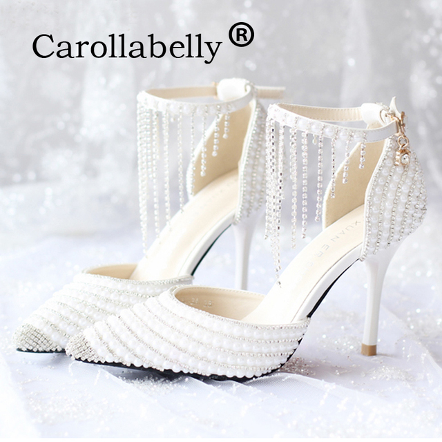 444ded20f21b 2018 Rhinestone Pointed Toe Women High Heels Pearl Ankle Strap Sandals  Fashion Sweet white Party Wedding
