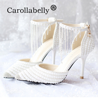 2019 Rhinestone Pointed Toe Women High Heels Pearl Ankle Strap Sandals Fashion Sweet white Party Wedding Shoes