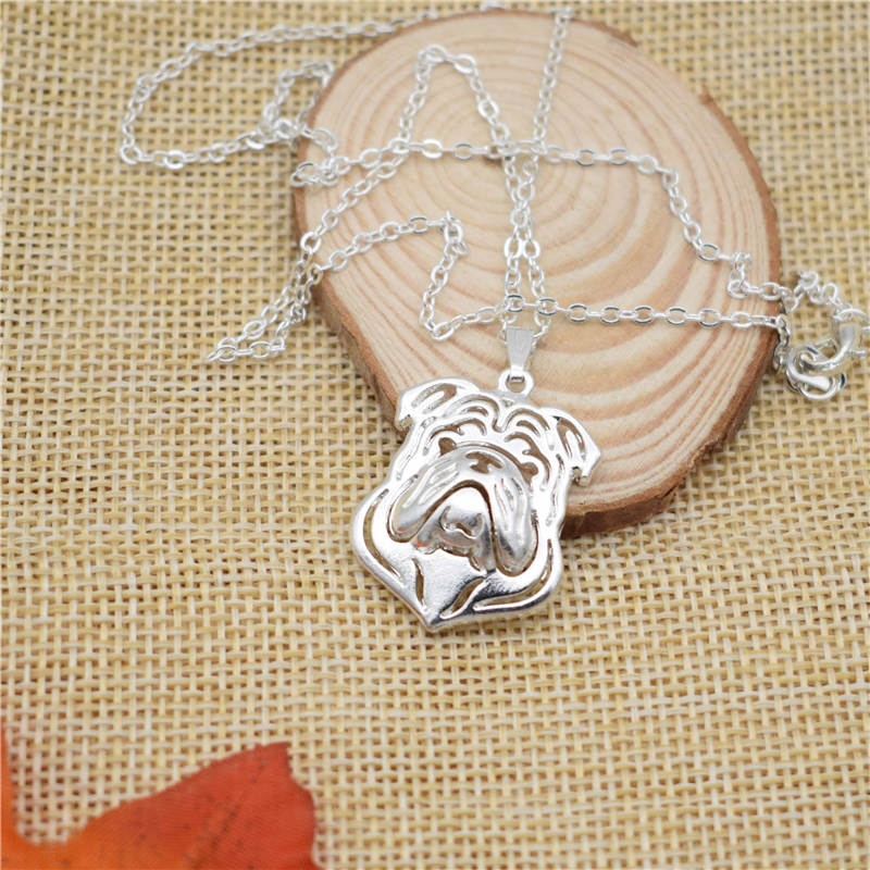 LPHZQH fashion cartoon necklace Puppy dog metal alloy English Bulldog choker pendant necklace for Women Collares Jewelry gift