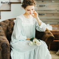 RenYvtil Autumn Night Dress Cotton Embroidered Sleeve Long 2018 New Women's Vintage Pijamas Lace Sleepwear Princess Nightgown