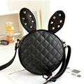 women leather handbags crossbody bags over shoulder Diamond Lattice Rivet cute rabbit ladies little purse small phone black cute