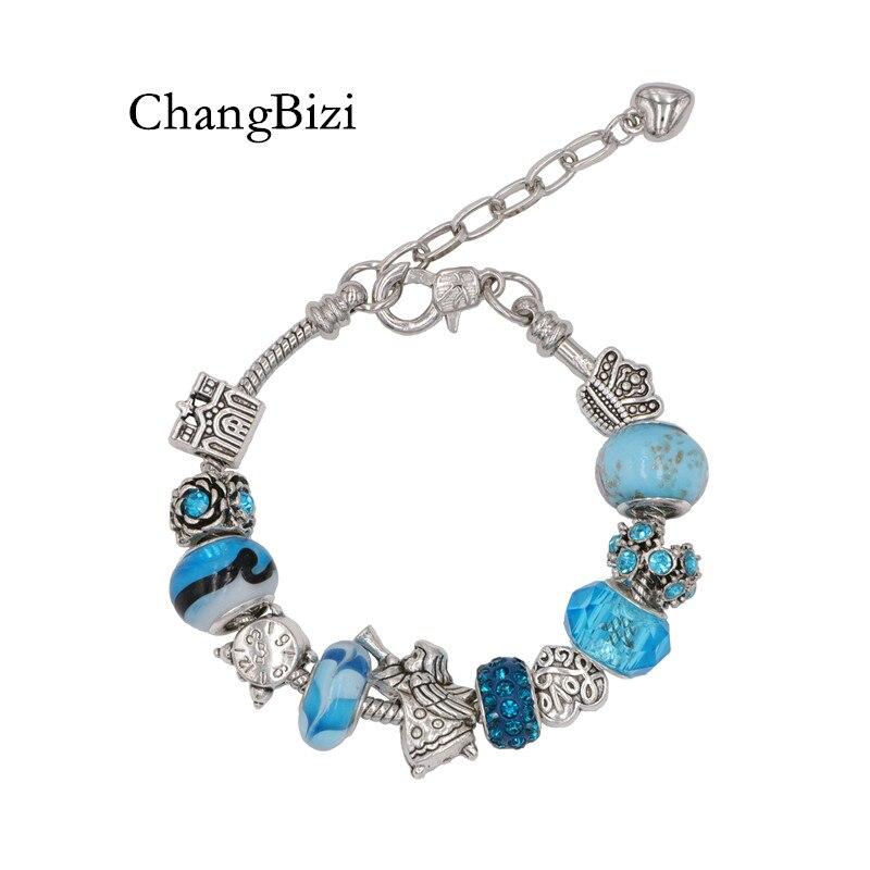 YILIANFEI Angel Blue Crystal/Glass Beadas Charm Pandora Bracelets & Bangles Adjustable Beads Bracelets For Women Gift BT0064