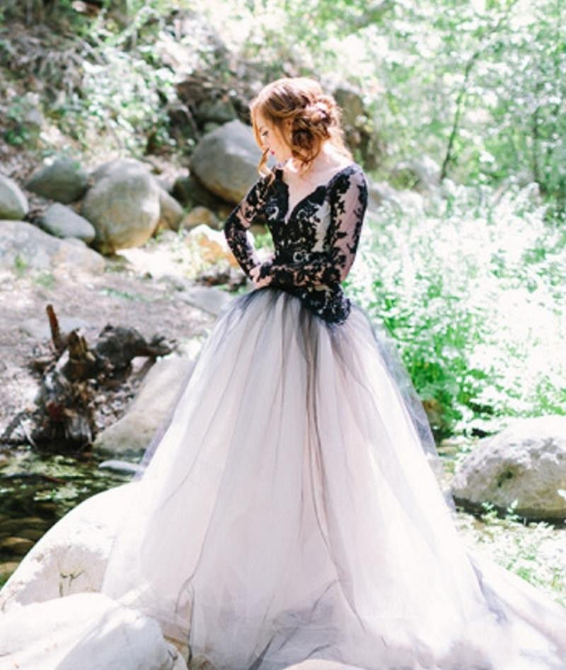 2017 Gothic Wedding Dresses Halloween Victorian Bridal: Popular Black Wedding Dress-Buy Cheap Black Wedding Dress