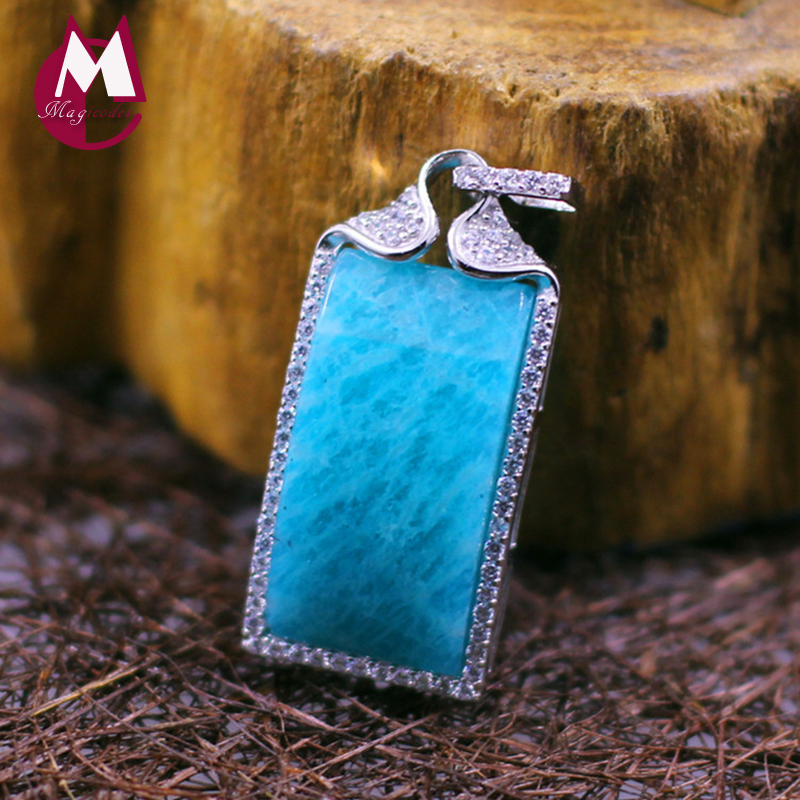100% 925 Sterling Silver Necklaces Women Pendant For Scarf Natural Stone Blue Amazonite Gemstones Bohemian Jewelry Of Life SP24 stylish bohemian rhombus pattern fringed edge winter scarf for women