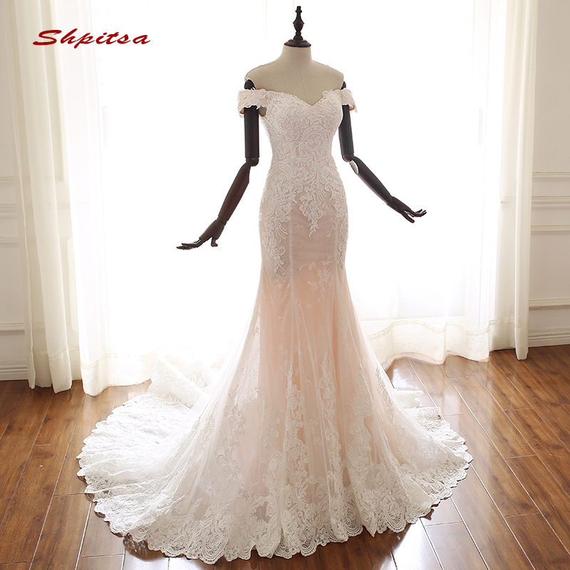 Wedding Gowns From China: Lace Mermaid Wedding Dresses Off Shoulder Tulle Plus Size
