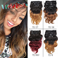 7Pcs/set Brazilian Body Wavy Clip In Human Hair Extensions 70g-160g Clip On Human Hair Ombre Brazilian Hair Clip In Extensions