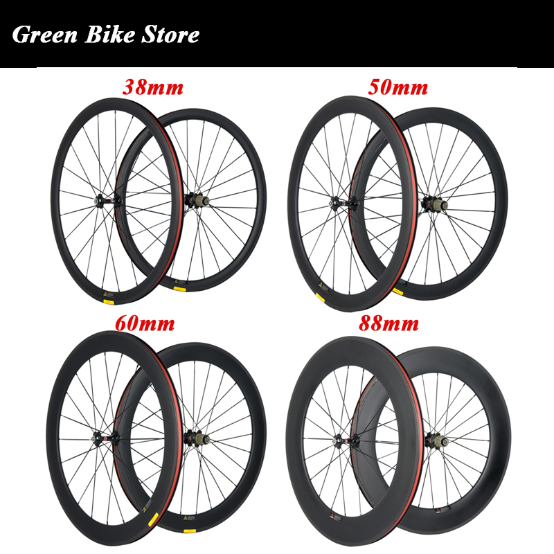 700C 24mm 38mm 50mm 60mm 88mm Carbon Clincher Tubular Road Bike Bicycle Wheels Super Light Carbon Wheels Racing Wheelset