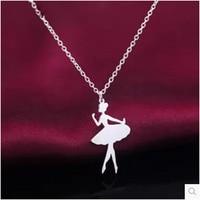 S925 silver temperament sweet princess necklace cute little girl pendant necklace accessories