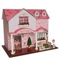 Home Decoration Crafts DIY Doll House Wooden Doll Houses Miniature DIY dollhouse miniature Furniture Room LED Lights Gift
