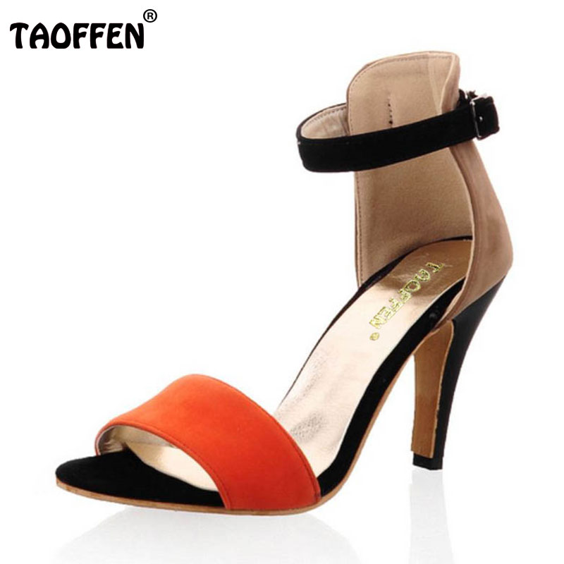 TAOFFEN Size 33-43 Sexy Women High Heel Sandals Ankle Strap Thin Heel Sandals Open Toe Summer Shoes Women Dress Women Footwears недорго, оригинальная цена