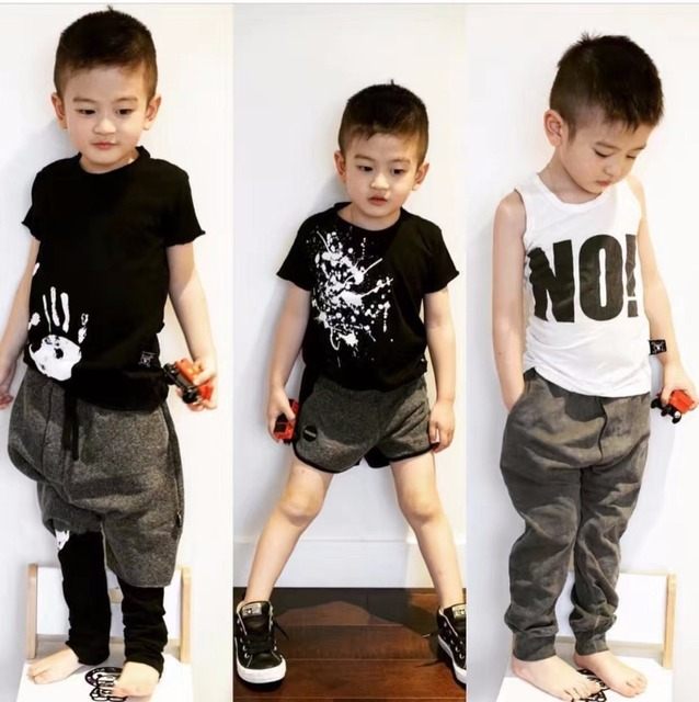 2017 summer NUNUNU NEW ARRIVAL KIDS BLACK shorts T BABY BOY CLOTHES children CLOTHING sets VESTIDOS  VETEMENT enfant garcon bebe