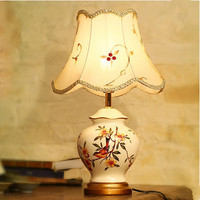 Chinese Creative Flower Bird Pattern Ceramic Table Lamps Beautiful Embroidered Art E27 LED Lamp For Bedside