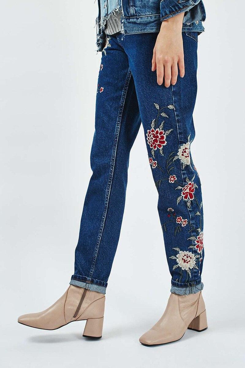 立即购买! 2018 fashion embroidery flower pattern long jeans