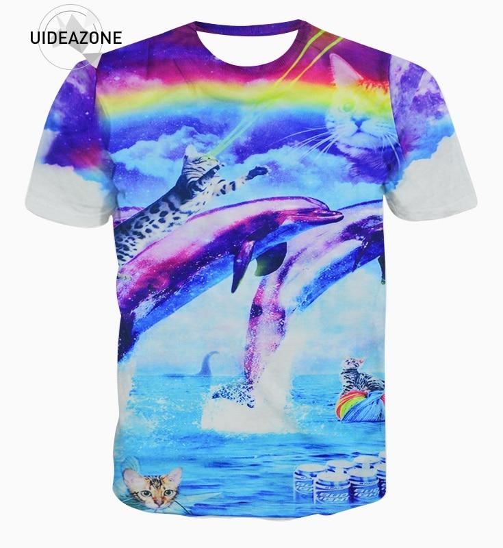 Men rainbow cat t shirts dolphin printed 3d t shirt man for Dolphins t shirt new logo