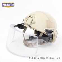 MILITECH пустынный Тан де люкс NIJ IIIA Быстрый пуленепробиваемый шлем и козырек Набор Дело баллистический шлем пуленепробиваемый пакет