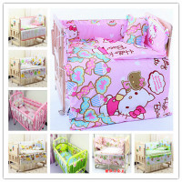 5 Pcs/sets baby bedding set 100x60cm cotton curtain crib bumper baby cot sets baby bed bumper