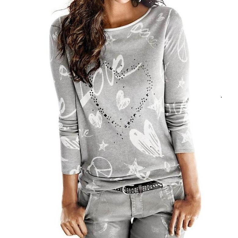 Fashion Womens Blouse Rhinestone Long Sleeves Letter Love O neck Sexy Shirt Hot Drilling ...