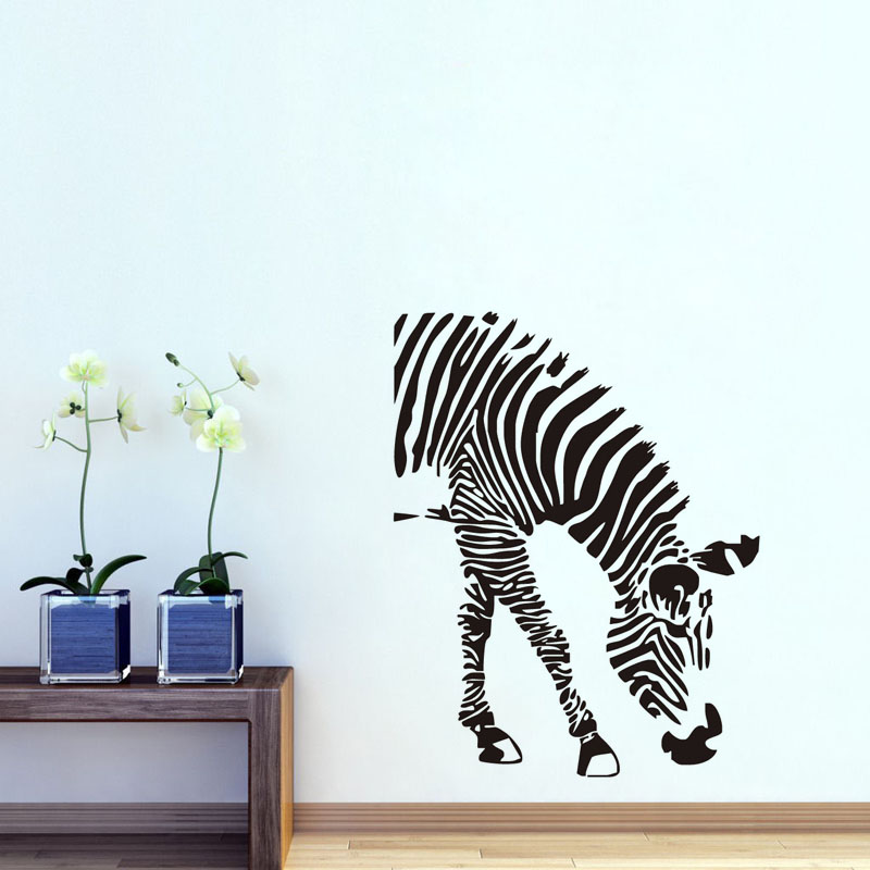 Zebra Vinyl Wall Decal Adhesive Removable Horse Wall Sticker Funny - Vinyl wall decal adhesive
