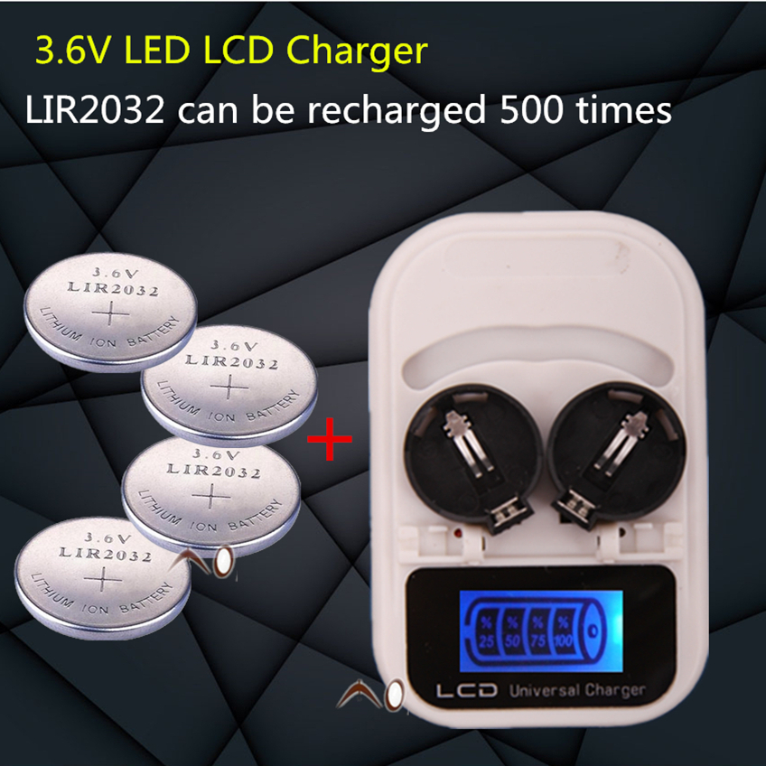 1PCS charger+4PCSLIR2032 button battery , battery rechargeable LIR2032 LIR2025 LIR2016 3.6V , LED battery charger display, USB i