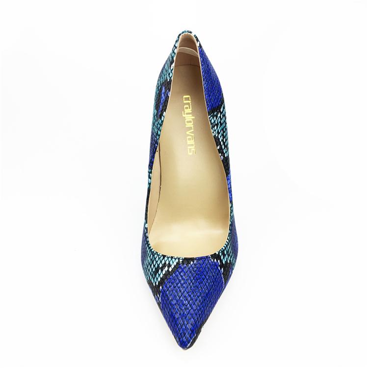 NEW Arrival Women Shoes Blue Snake Printed Sexy Stilettos High Heels Pointed Toe Women Pumps HTB1xXZabN6I8KJjSszfq6yZVXXai