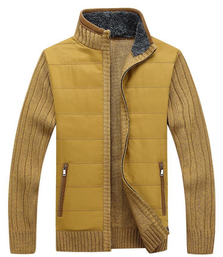 Winter Sweater Men 2017 Thicken Cardigan Sweaters Flocking Inside Zipper Knitwear Slim Fit Plus Size 3xl