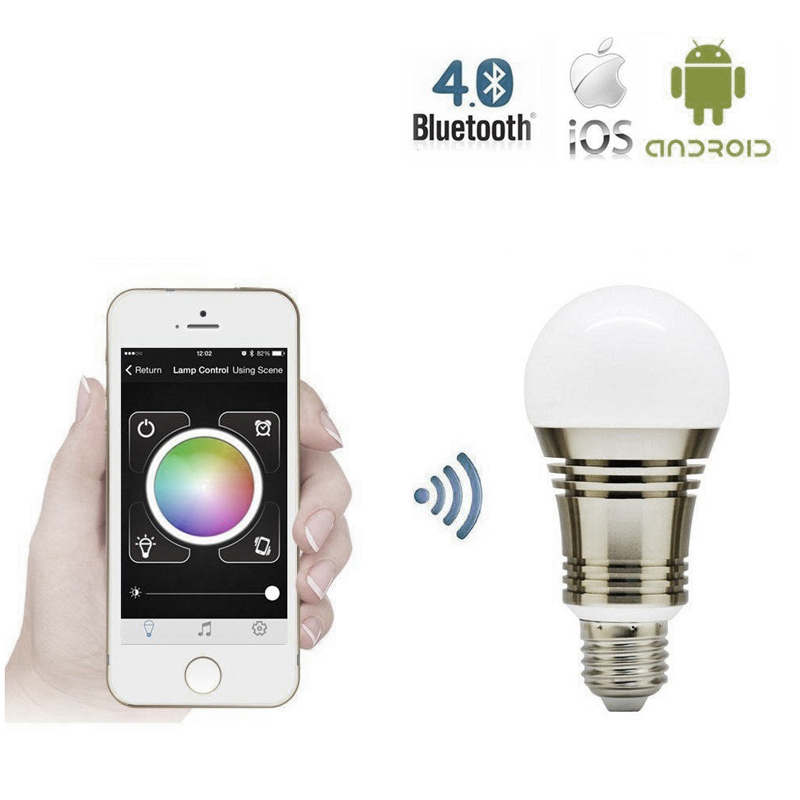 6.5W Dimmable LED Lamp Smart Light Bluetooth Smartphone Remote ...