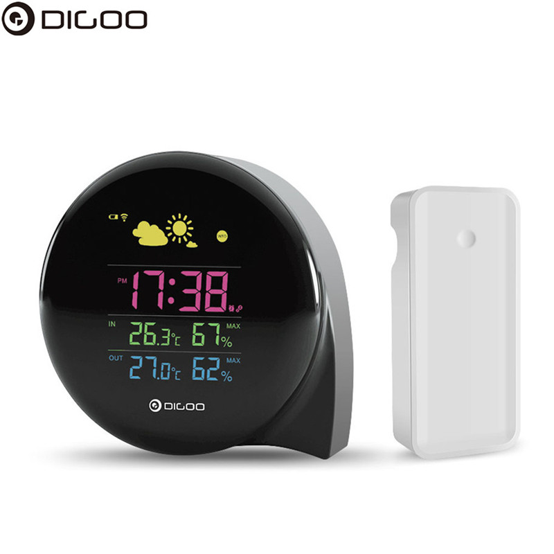 DIGOO DG-THS02 Mini Comma Weather Station Digital LED Screen Thermometer Hygrometer Weather Forecast Snooze function Temperature hoox comma black