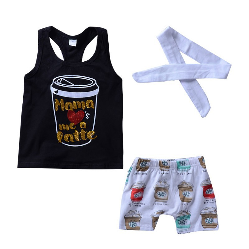Baby Clothing Set Girls Summer Cartoon Vest + Pants + Hair Band Three Sets Of Cute Comfortable Childrens Suit