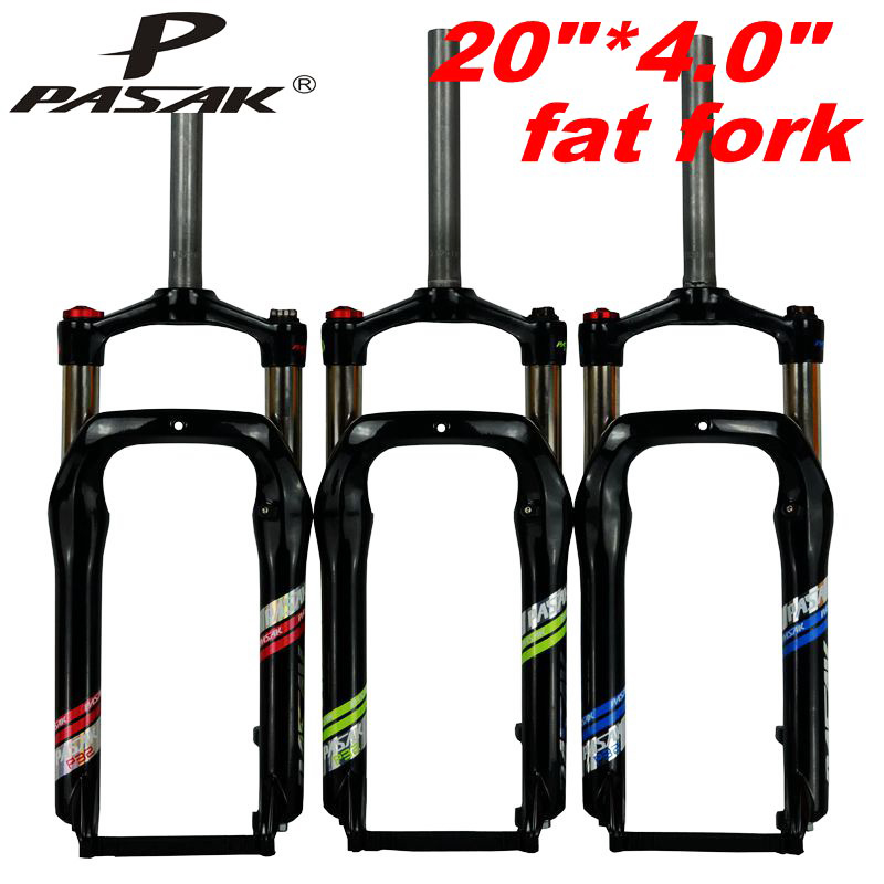 PASAK Snow MTB Mountain Bike 20inch Fat Fork Bicycle Fork Oil Spring Fork Locking Suspension Forks Aluminum Alloy For 4.0