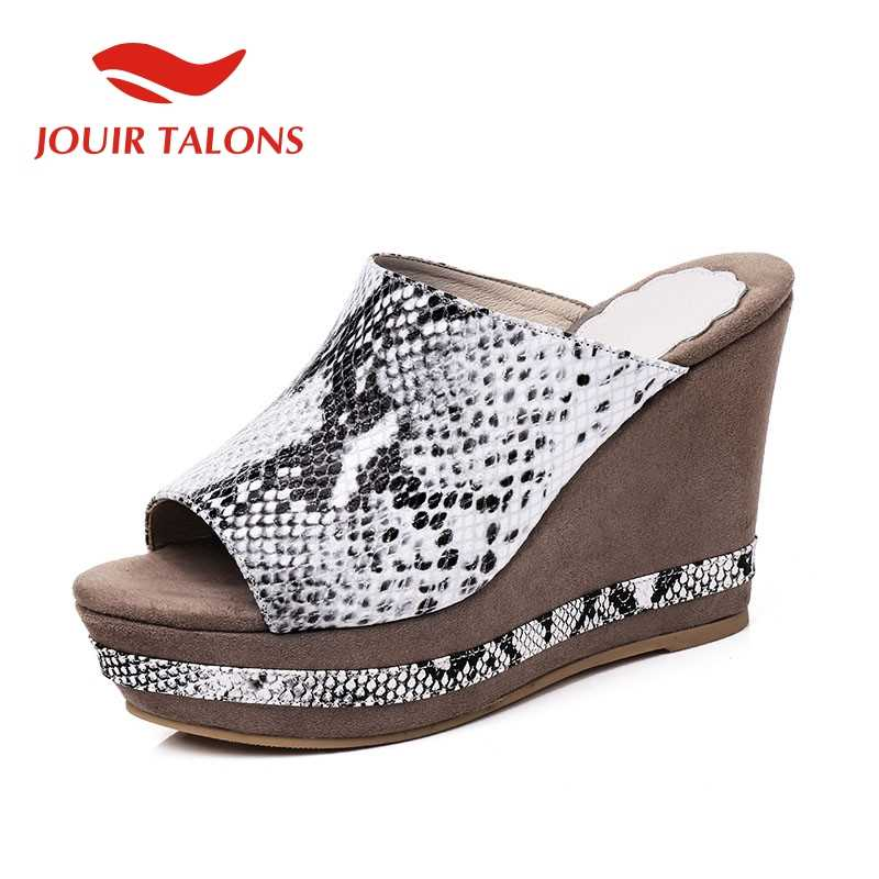 JOUIR TALONS Big Size 32-43 Snake Veins Genuine Leather Ladies Wedges High Heels Shoes Woman Casual Party Summer Slippers