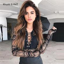 Summer Deep V-neck Long Sleeve Lace Women Sexy Bodysuit 2019 Black Short Rompers Womens Jumpsuit black padded design deep v neck bodysuit swimwears